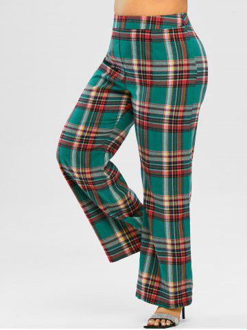 Plus Size High Waisted Plaid Wide Leg Pants