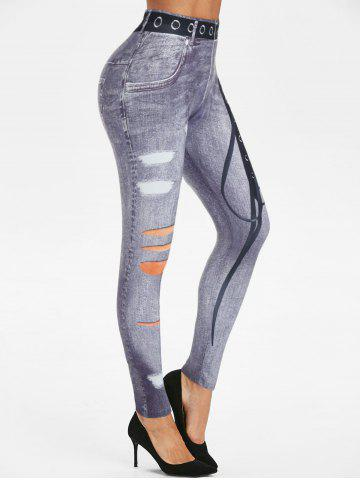 3D Lace-up Print Skinny Jeggings