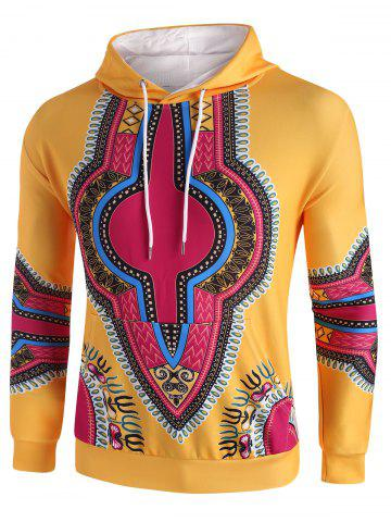 Kangaroo Pocket Dashiki Print Drawstring Hoodie - SUN YELLOW - M