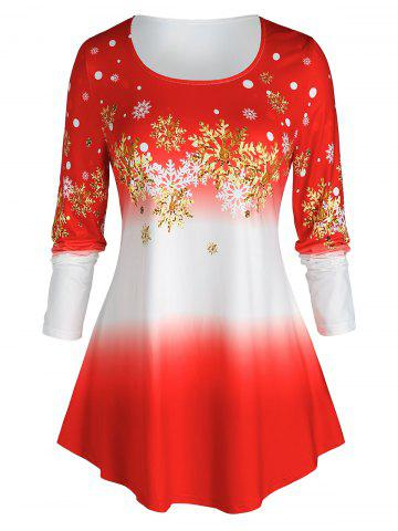 Plus Size Christmas Ombre Color Snowflake Print Tee - RED - 5X