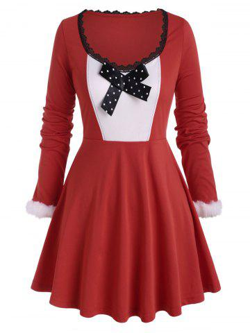 Plus Size Christmas Bowknot T Shirt - RED - 5X