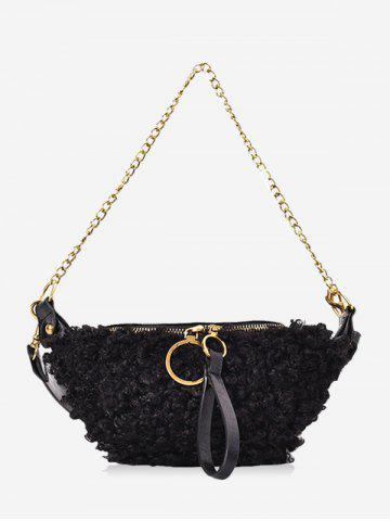 Faux Shearling Double Strap Fanny Pack - BLACK