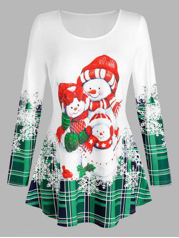 Plus Size Snowman Christmas Long Sleeves T Shirt