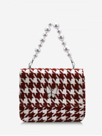 Houndstooth Butterfly Pattern Faux Pearl Cover Crossbody Bag - DEEP RED