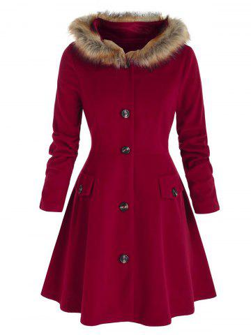 Plus Size Hooded Faux Fur A Line Single Breasted Coat - RED WINE - 4X