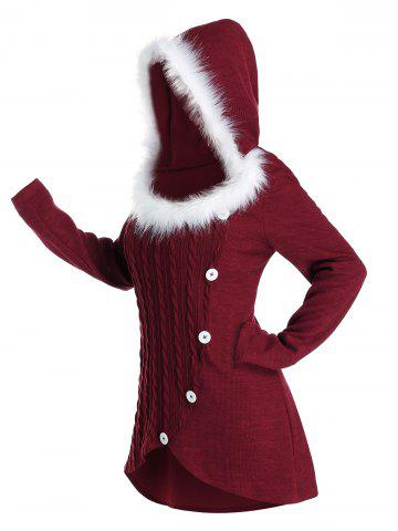 Plus Size Hooded Faux Fur Tulip Hem Cable Knit Sweater - DEEP RED - 3X