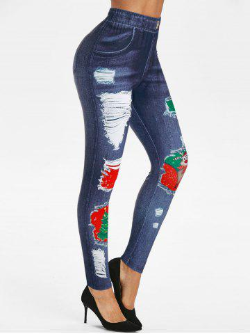 Christmas 3D Ripped Jean Print Jeggings
