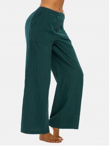 Pull On Pockets Wide Leg Pants - DEEP GREEN - L