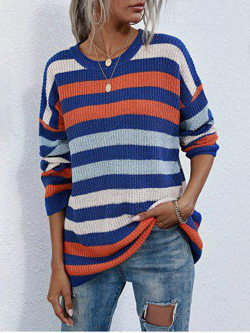 Crew Neck Colorful Striped Tunic Sweater - BLUE - M