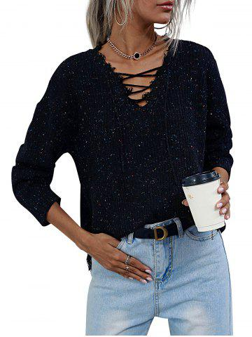 V Neck Lace-up Heathered Distressed Trim Sweater - BLACK - M