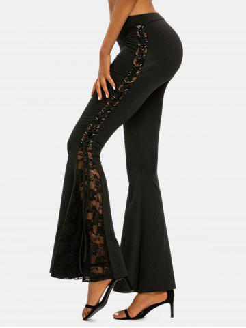 Lace-up Side Lace Insert Flare Pants