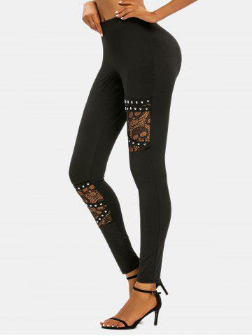 Halloween Skull Lace Panel Rivet Skinny Pants - BLACK - M