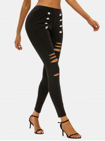 Sailor Buttoned Distressed Skinny Pants - BLACK - M