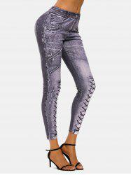 3D Zip Lace-up Print Skinny Jeggings -