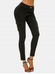 Button Flap Pockets Skinny Cargo Leggings -