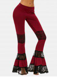 Lace Panel Bell Bottom Pants -