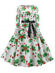 Christmas Berry Print Long Sleeve Belted Dress -
