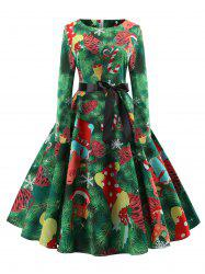 Christmas Gift Print Long Sleeve Belted Dress -