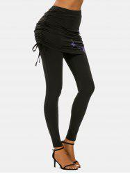 Cinched Flower Butterfly Print Skirted Leggings -