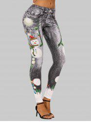 Christmas Snowflake Printed Fitted Jeggings -