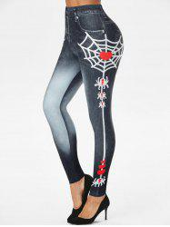 Halloween Spider Web Heart 3D Print Jeggings -