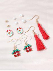 6 Pairs Christmas Faux Pearl Cartoon Tassel Earrings Set -