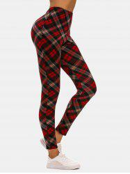 High Waisted Plaid Jersey Leggings -