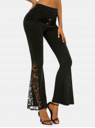 O-ring Ruched Lace Insert Flare Pants -