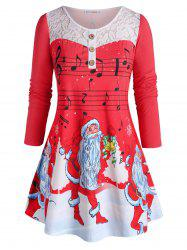 Plus Size Christmas Claus Musical Notes Lace Panel Long Sleeve Tee -