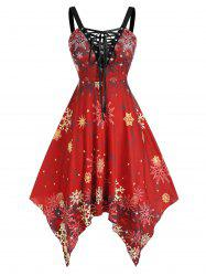 Plus Size Snowflake Printed Lace Up Flare Dress -