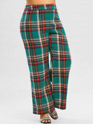 Plus Size High Waisted Plaid Wide Leg Pants -