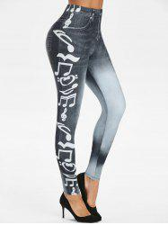 Music Notes 3D Print High Waisted Skinny Pants -
