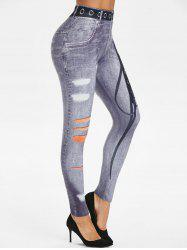 3D Lace-up Print Skinny Jeggings -