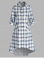 Double Pockets Plaid Print Long Shirt -