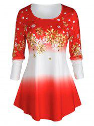 Plus Size Christmas Ombre Color Snowflake Print Tee -
