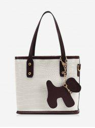 Dog Detail Animal Pattern PU Leather Tote Bag -