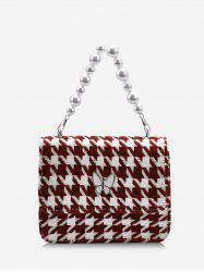 Houndstooth Butterfly Pattern Faux Pearl Cover Crossbody Bag -