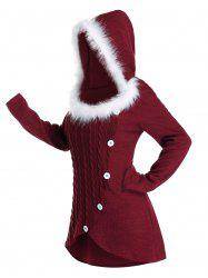 Plus Size Hooded Faux Fur Tulip Hem Cable Knit Sweater -