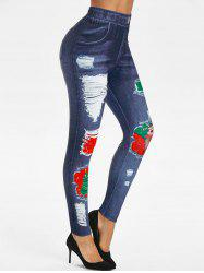 Christmas 3D Ripped Jean Print Jeggings -