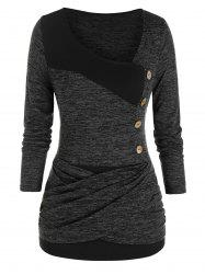Plus Size Space Dye Crossover Skew Collar Ruched Tee -