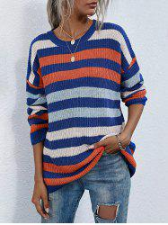 Crew Neck Colorful Striped Tunic Sweater -