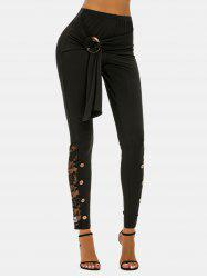 Button Ring Detail Lace Insert High Rise Pants -
