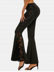 Lace-up Side Lace Insert Flare Pants -