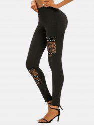 Halloween Skull Lace Panel Rivet Skinny Pants -