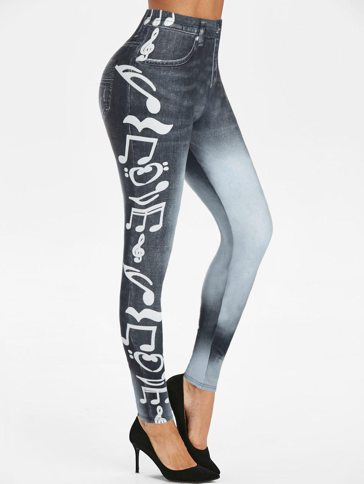 Fashion Music Notes 3D Print High Waisted Skinny Pants