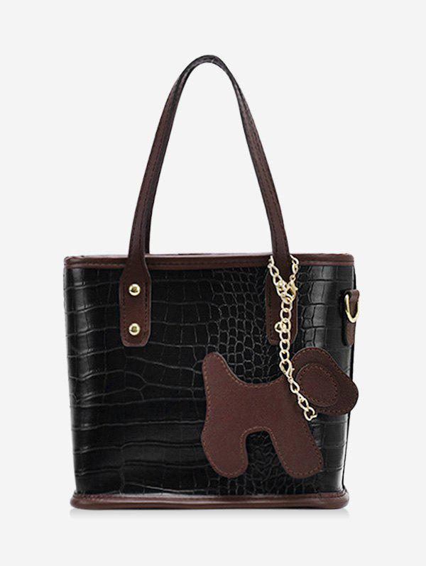Best Dog Detail Animal Pattern PU Leather Tote Bag