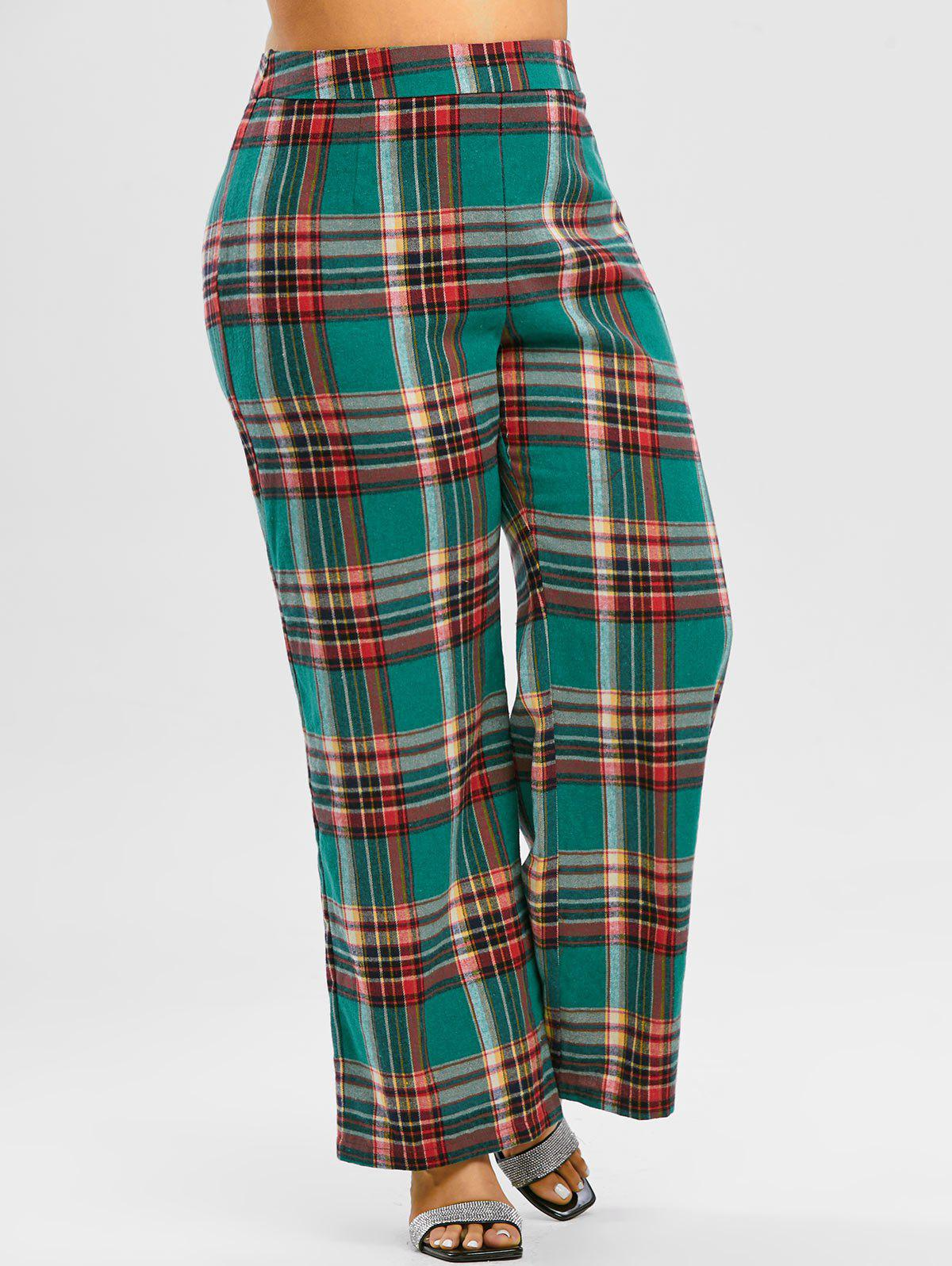 Shop Plus Size High Waisted Plaid Wide Leg Pants