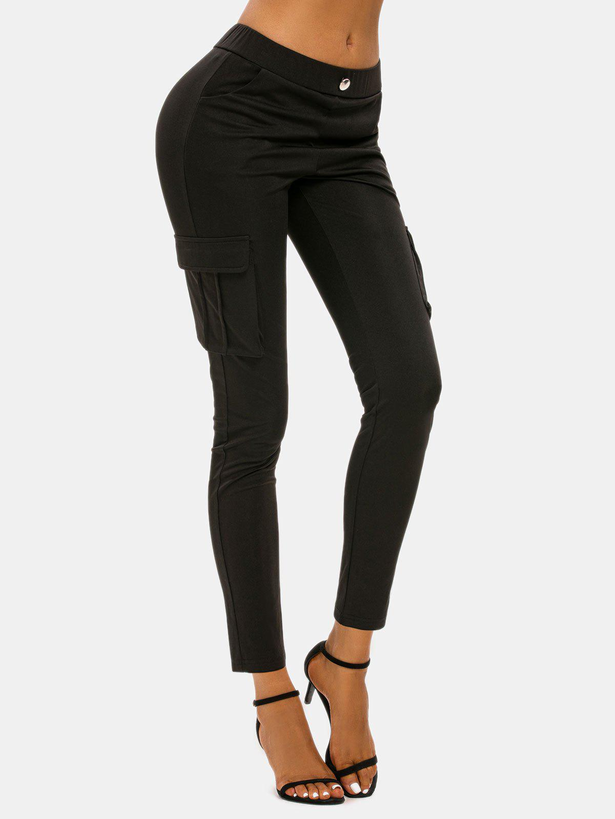 Outfits Button Flap Pockets Skinny Cargo Leggings