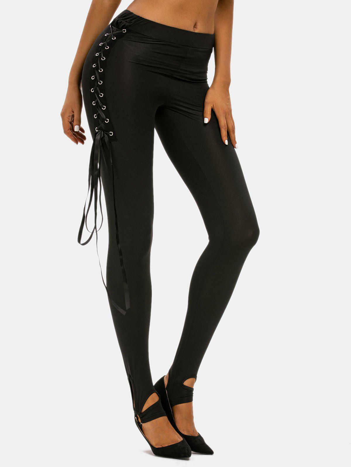 Affordable Lace Up O Ring Punk Pants