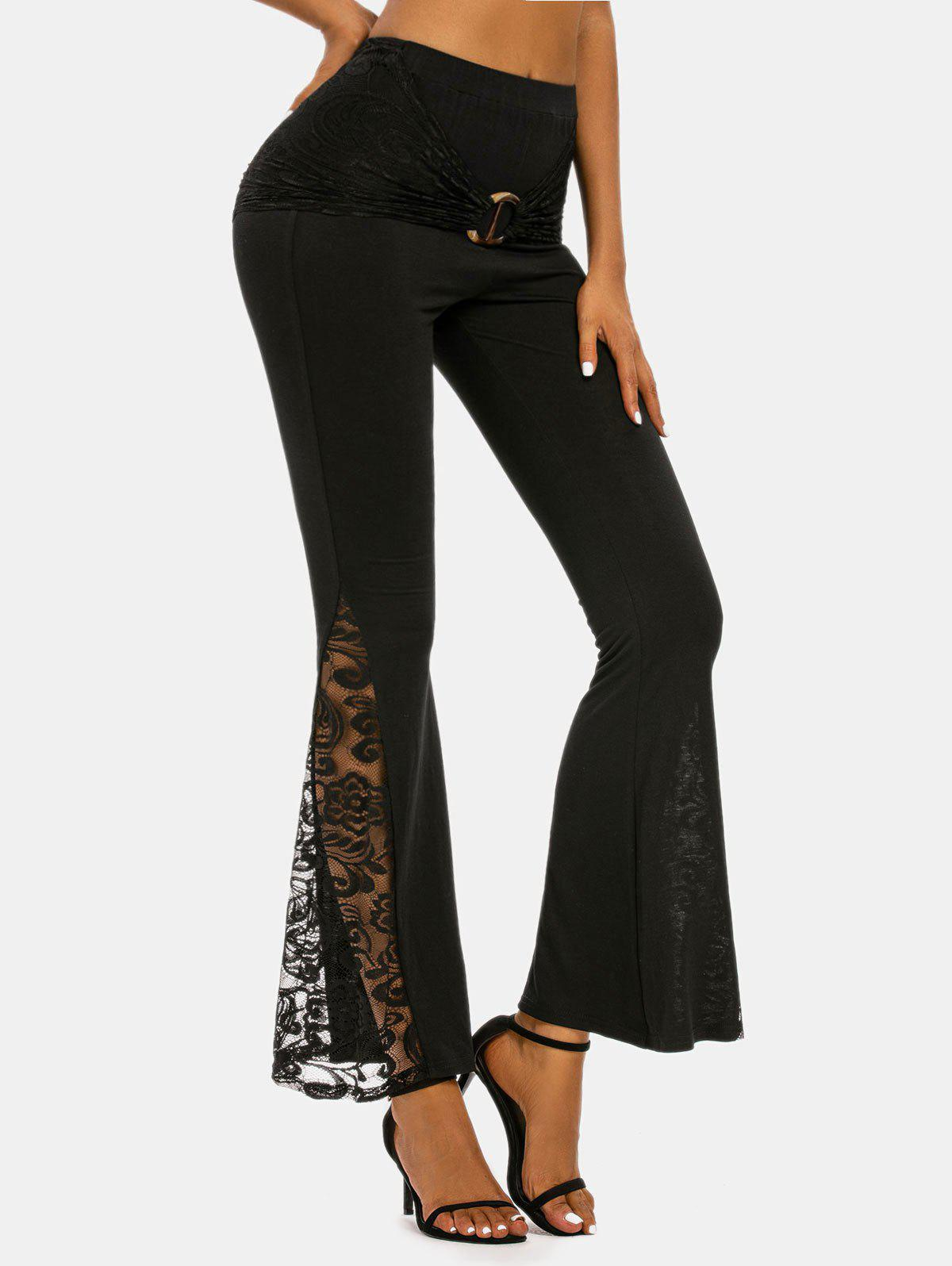Chic O-ring Ruched Lace Insert Flare Pants